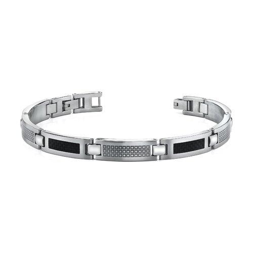 Black Carbon Fiber with Laser Pattern Mens Stainless Steel Bracelet