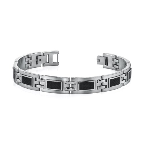 Modern Style Mens Stainless Steel Bracelet with Black Carbon Fiber Highlights