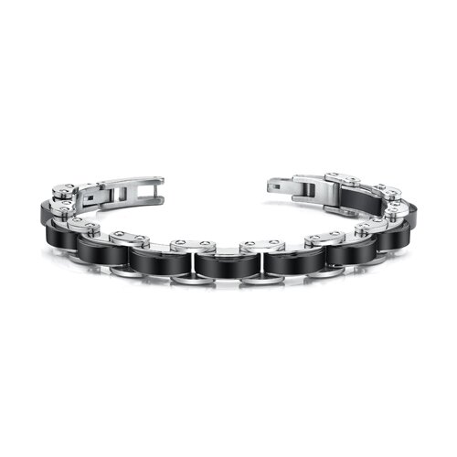 Expertly Crafted Mens Stainless Steel Bracelet with Black Links
