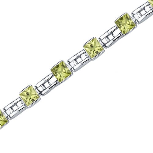 Oravo Charming Style Princess Cut Gemstone Bracelet in Sterling Silver