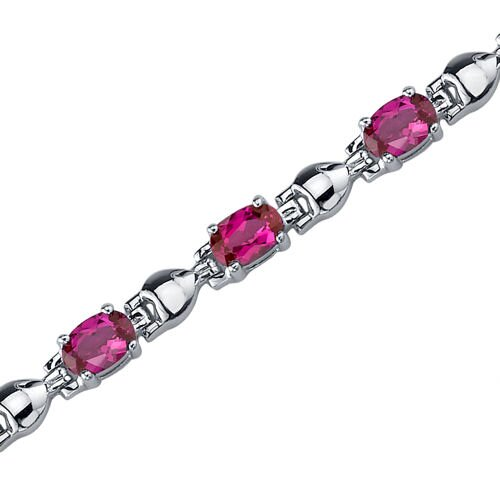 Oravo Exquisite Classic Oval Shaped Gemstone Bracelet in Sterling Silver
