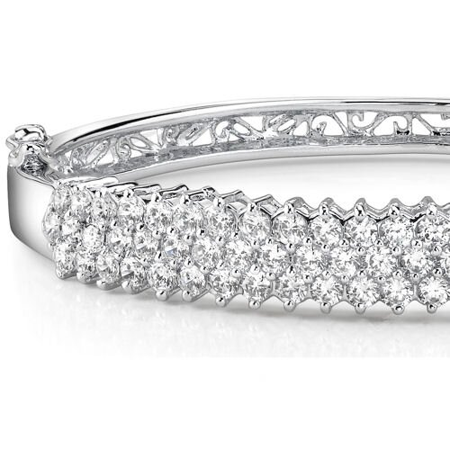 Oravo Captivating and Luxurious Sterling Silver Prong-Set Cubic Zirconia Hinged Bangle Bracelet