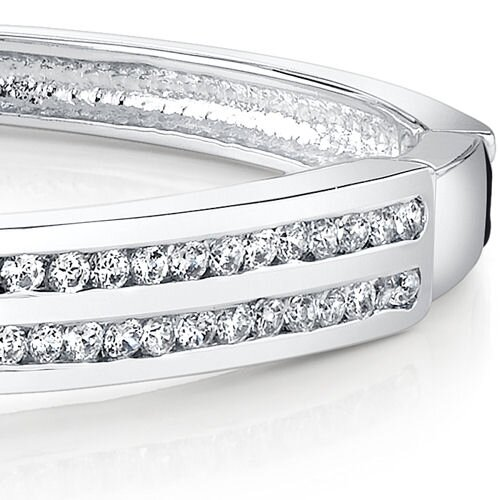 Oravo Contemporary Chic Sterling Silver Channel-Set Cubic Zirconia Hinged Bangle Bracelet