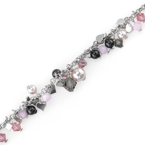 Vision of Love Sterling Silver Bracelet with Swarovski Crystals and Cultured Pearls Heart Charms
