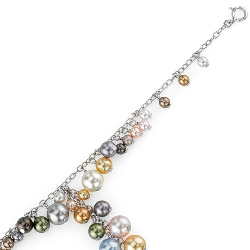 Oravo Spring Bouquet Sterling Silver Charm Bracelet with Swarovski Cultured Pearls Beads