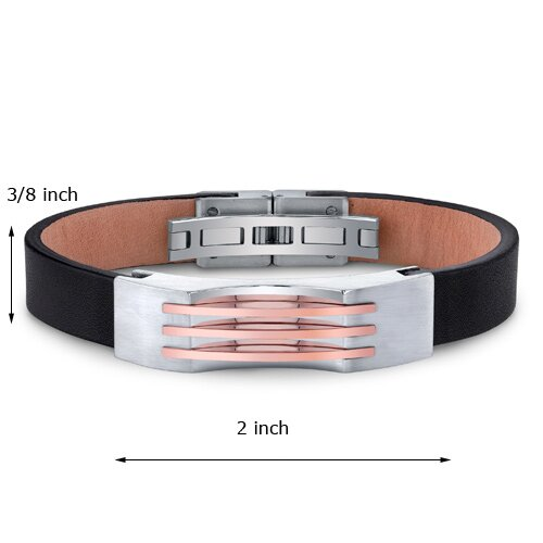 Oravo Mens Stainless Steel and Leather Bracelet with Triple Stripe Rose-Gold Accents