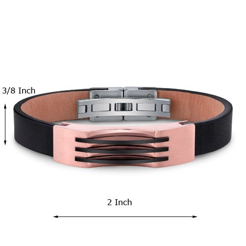 Oravo Mens Stainless Steel and Leather Bracelet with Rose Gold and Black Triple Stripe Accents