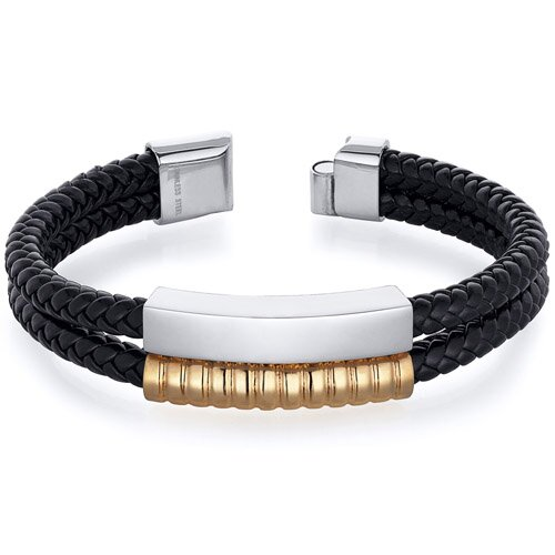 Mens Gold Tone Stainless Steel and Black Woven Bracelet