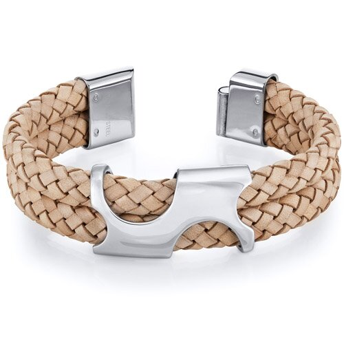 Mens Art Deco Tan Woven Leather and Steel Bracelet