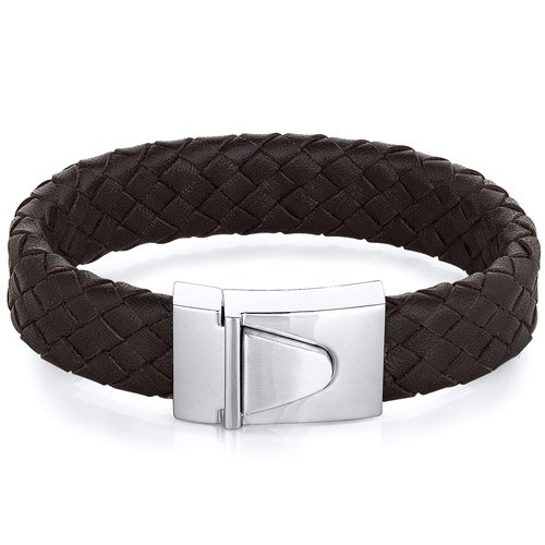 Mens Buckle Style Brown Woven Leather Bracelet