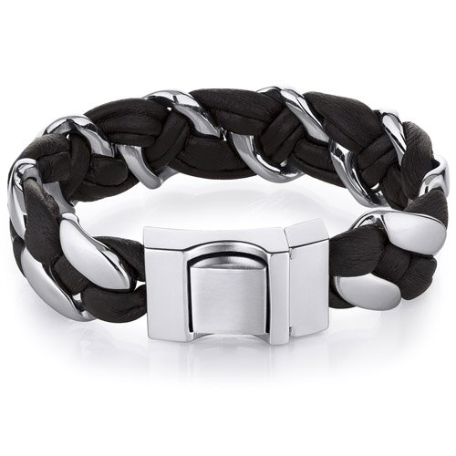 Oravo Mens soft Brown Leather and Stainless Steel Buckle Bracelet