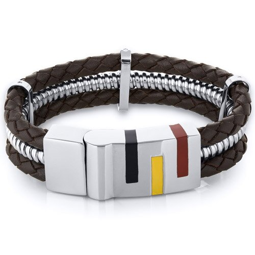Mens Art Deco Brown Woven Leather Stainless Steel Bracelet