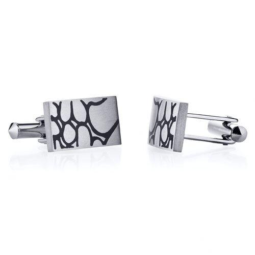 Abstract Squiggle Design Brushed Finish Titanium Cufflinks