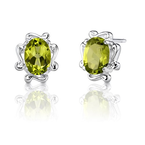 "Oravo 0.25""x0.38"" 1.50 Carats Oval Shape Peridot Earrings in Sterling Silver"