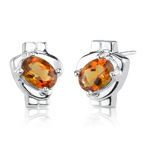 "Oravo 0.38""x0.5"" 1.50 Carats Oval Shape Citrine Earrings in Sterling Silver"