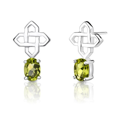 "Oravo 0.5""x0.75"" 1.50 Carats Oval Peridot Earrings in Sterling Silver"