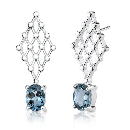 """Oravo 0.38""""x1"""" 2.00 Carats Oval Cut London Blue Topaz Earrings in Sterling Silver"""