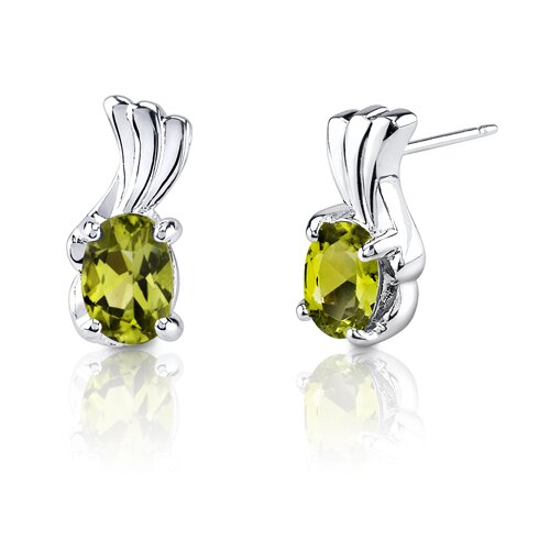Oravo 1.67g 1.50 Carats Oval Shape Peridot Earrings in Sterling Silver