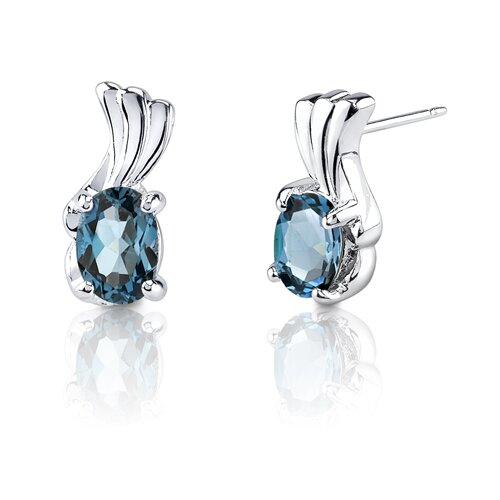 1.67g 2.00 Carats Oval Shape London Blue Topaz Earrings in Sterling Silver