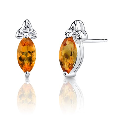 Oravo 1.15g 1.00 Carats Marquise Shape Citrine Earrings in Sterling Silver