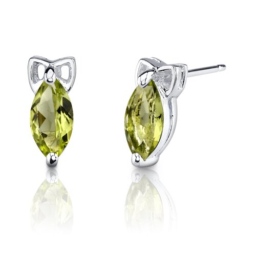 Oravo 1.00 Carats Marquise Peridot Earrings in Sterling Silver
