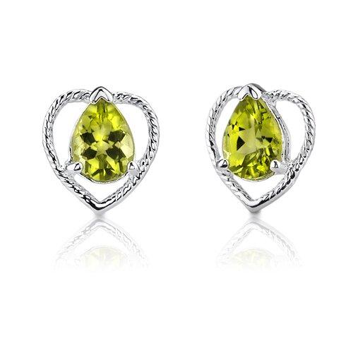 1.50 Carats Pear Shape Peridot Earrings in Sterling Silver