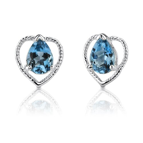 2.00 Carats Pear Shape London Blue Topaz Earrings in Sterling Silver