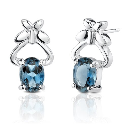 2.36g 2.00 Carats Oval Shape London Blue Topaz Earrings in Sterling Silver