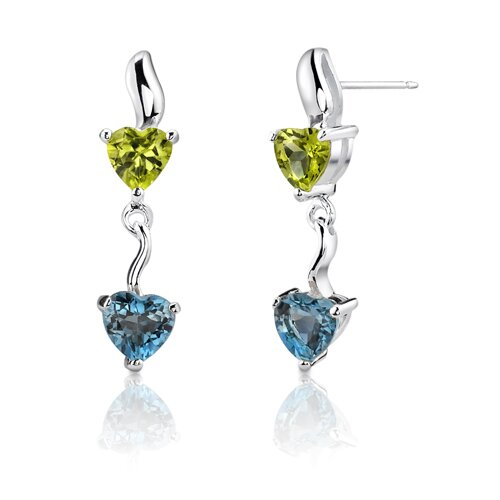 Oravo 2.00 Carats Peridot London Blue Topaz Heart Shape Earrings in Sterling Silver