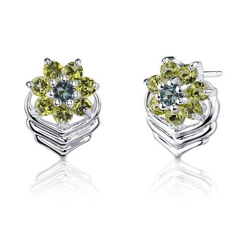 1.25 Carats Round Cut London Topaz Peridot Earrings in Sterling Silver