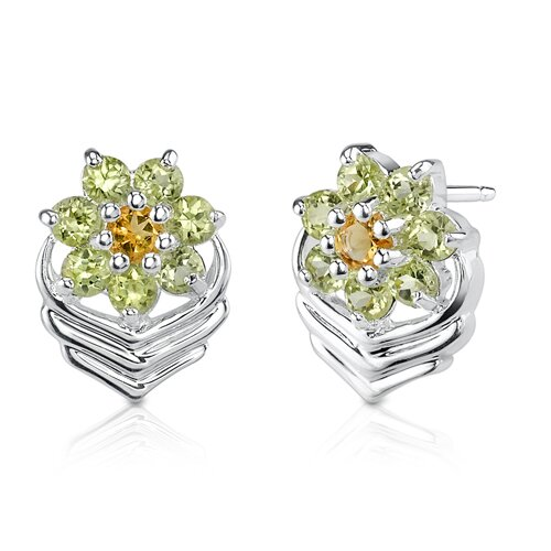 Oravo 1.25 Carats Round Cut Citrine Peridot Earrings in Sterling Silver