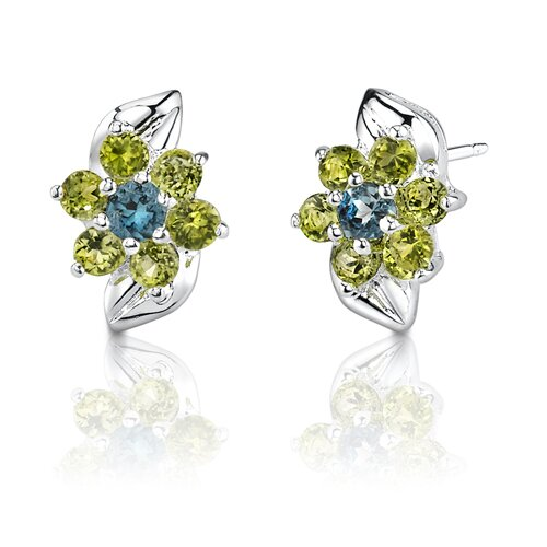1.00 Carats Round Cut London Topaz Peridot Earrings in Sterling Silver