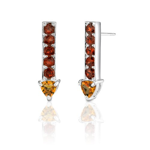 Oravo 2.75 Carats Trillion Citrine Round Garnet Earrings in Sterling Silver