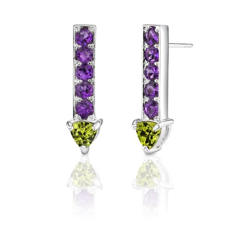 2.25 Carats Trillion Peridot Round Amethyst Earrings in Sterling Silver
