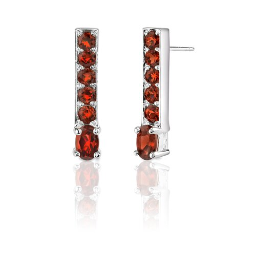 Oravo 3.00 Carats Oval and Round Cut Garnet Earrings in Sterling Silver