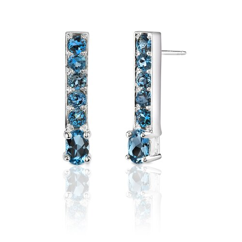 2.50 Carats Oval and Round Cut London Blue Topaz Earrings in Sterling Silver
