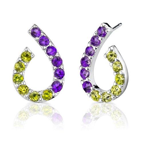2.75 Carats Round Cut Amethyst Peridot Earrings in Sterling Silver