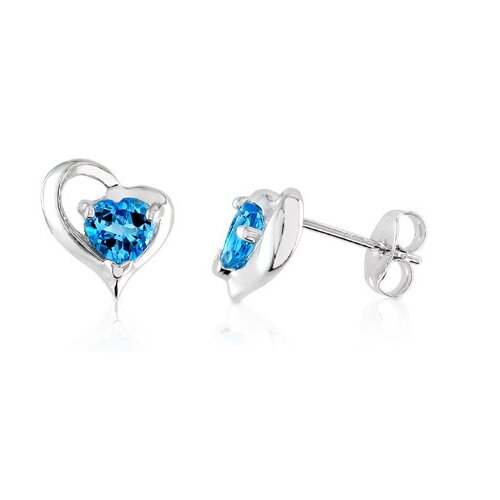 Heart Shaped London Blue Topaz Earrings Sterling Silver