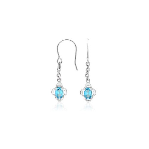 Oval Cut Swiss Blue Topaz Earrings Sterling Silver