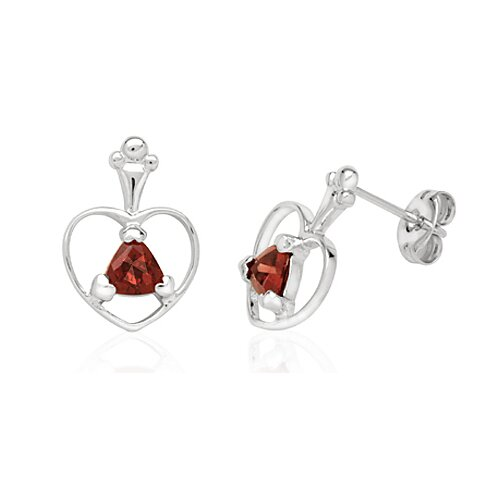 Trillion Cut Garnet Drop Earrings Sterling Silver
