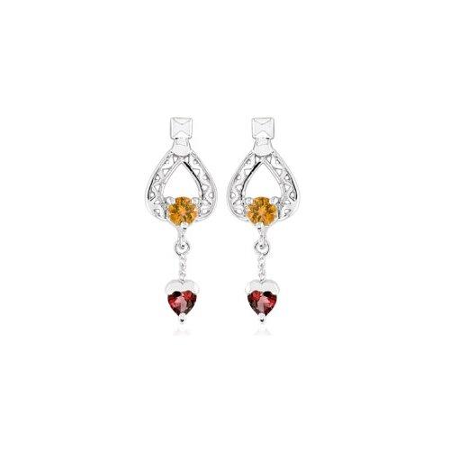Oravo Multicut Gemstone Garnet Dangling Heart earrings Sterling Silver