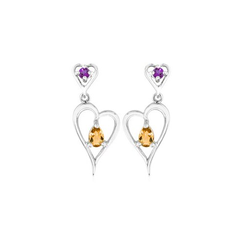 Multicut Gemstone Gemstone Dangling Earrings Sterling Silver