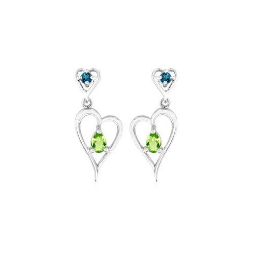 Multicut London Blue Topaz Peridot Dangling Heart Earrings Sterling Silver