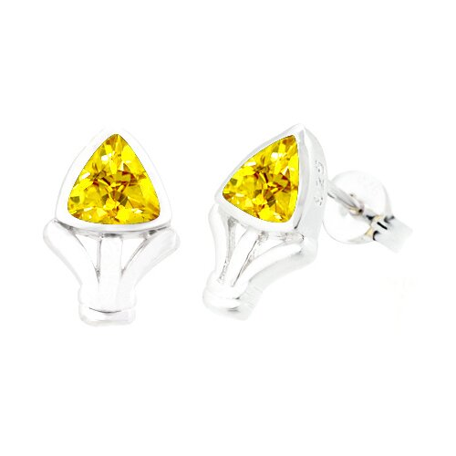 Trillion Cut Citrine Earrings Sterling Silver