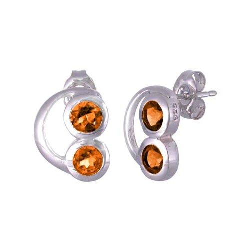 Round Cut Garnet Earrings Sterling Silver