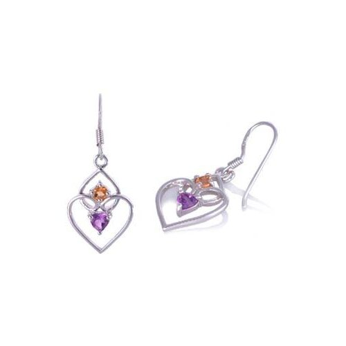 Multicut Amethyst Citrine Dangling Heart Earrings Sterling Silver