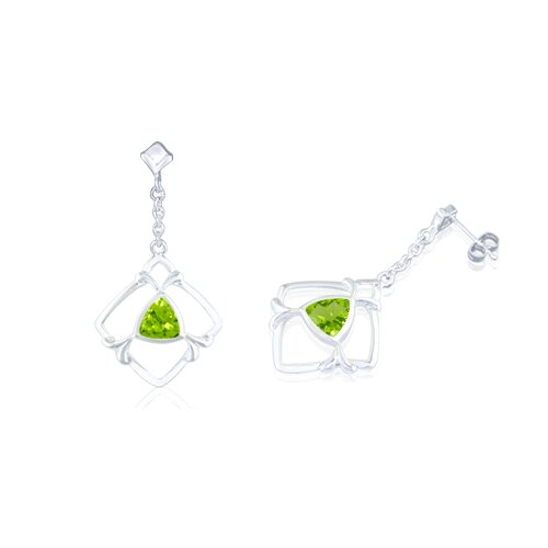 Trillion Cut Peridot Dangling Earrings Sterling Silver