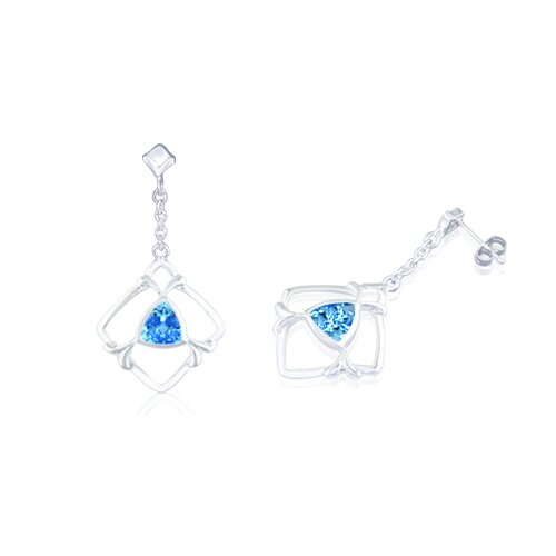 Trillion Cut Swiss Blue Topaz Dangling Earrings Sterling Silver