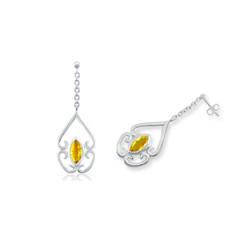 Marquise Cut Gemstone Dangling Earrings Sterling Silver