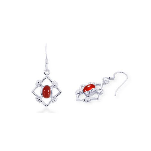 Oval Cut Carnelian Dangling Earrings Sterling Silver